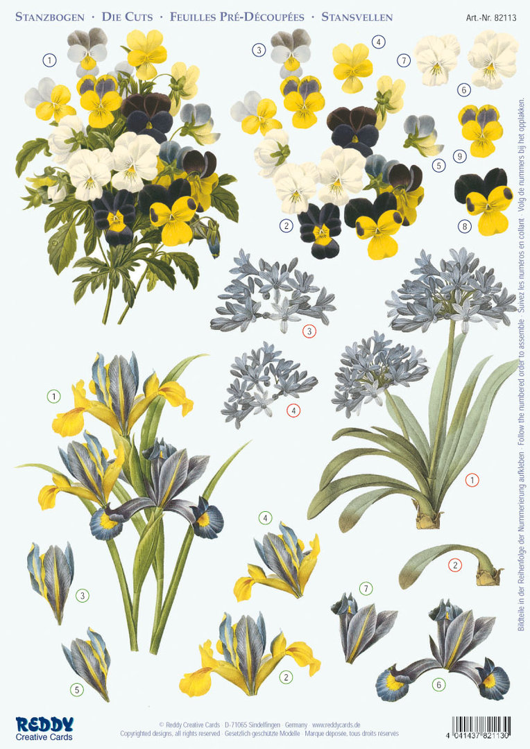 3d stanzbogen veilchen iris afrik lilie auf kreative weise. Black Bedroom Furniture Sets. Home Design Ideas